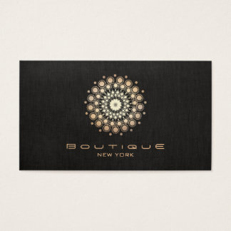 Chic Boutique Gold Circle Motif Faux  Black Linen