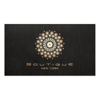 Chic Boutique Gold Circle Motif Faux  Black Linen Pack Of Standard Business Cards