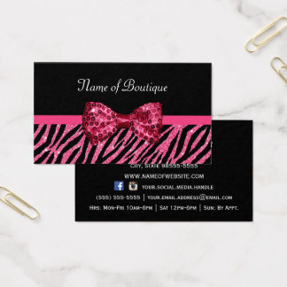 Chic Boutique Pink Zebra Print FAUX Glitz Bow Business Card