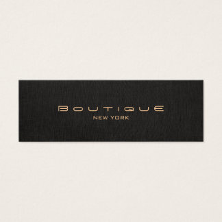 Chic Boutique Stylish Designer Faux Black Linen Mini Business Card