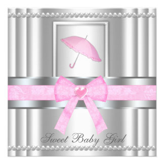 Chic Bowed Silver Pink Baby Shower Invite