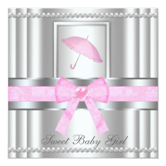 Chic Bowed Silver & Pink Baby Shower Invite