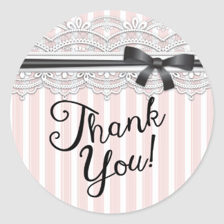 Chic Bridal Shower Lovely Lace Thank You Sticker