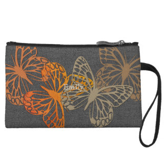 Chic Bright Butterflies Gray Fabric Texture  Bag