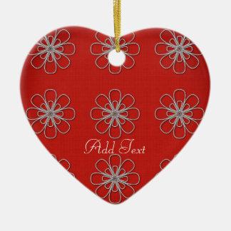 Chic Bright Red Pattern Add Text Add Photo Ceramic Ornament