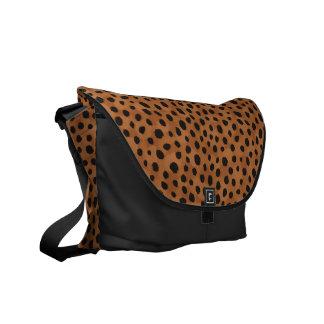 Chic brown cheetah print monogram messenger bags