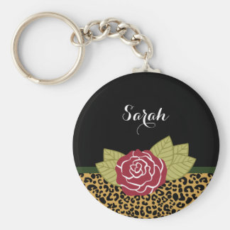 Chic Brown Gold Leopard Print Red Rose With Name Key Ring