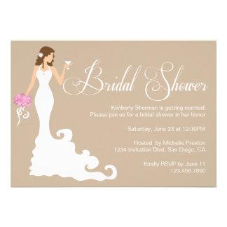 Chic Brown Modern Bride Posh Bridal Shower Invite