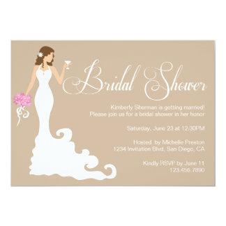 """Chic Brown Modern Bride Posh Bridal Shower Invite 5"""" X 7"""" Invitation Card"""