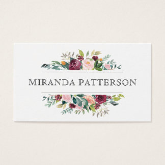 Chic Burgundy and Pink Watercolor Floral Frame Business Card