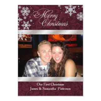 Chic Burgundy First Christmas Photo Card 13 Cm X 18 Cm Invitation Card