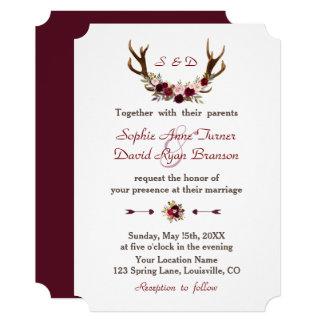 Chic Burgundy Marsala Floral Antlers Wedding Card