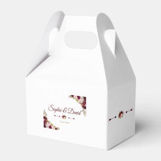 Chic Burgundy Marsala Floral Fall Wedding Favour Box