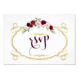 Chic Burgundy Marsala Floral Fall Wedding RSVP Card