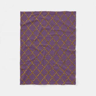 Chic Burgundy Quatrefoil Gold Glitter Photo Print Fleece Blanket