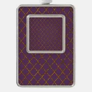 Chic Burgundy Quatrefoil Gold Glitter Photo Print Silver Plated Framed Ornament