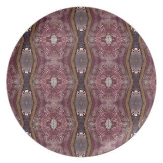 Chic Burgundy Rose Modern Tribal Pattern Plates