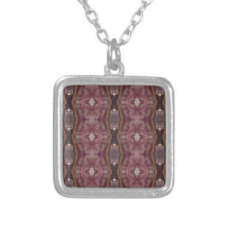 Chic Burgundy Rose Modern Tribal Pattern Silver Plated Necklace