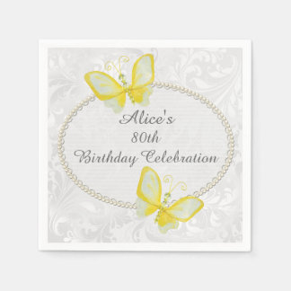 Chic Butterflies Damask 80th Birthday Personalized Disposable Serviettes