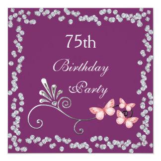 Chic Butterflies & Diamonds 75th Birthday Card