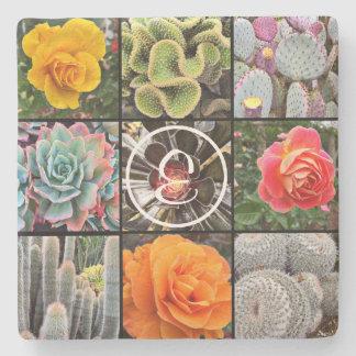 Chic cacti & roses close-up photo custom monogram stone coaster