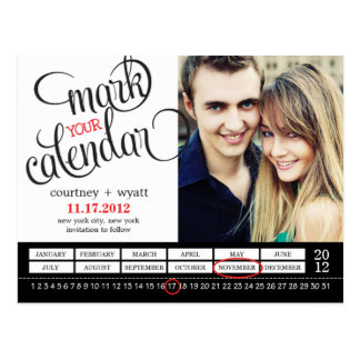 Chic Calendar Photo Save The Date Postcard