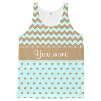 Chic Camel Chevrons Polka Dots Baby Blue All-Over Print Tank Top