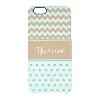 Chic Camel Chevrons Polka Dots Baby Blue Clear iPhone 6/6S Case