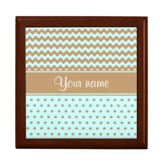 Chic Camel Chevrons Polka Dots Baby Blue Gift Box