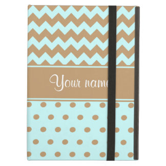 Chic Camel Chevrons Polka Dots Baby Blue iPad Air Case