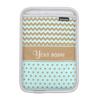 Chic Camel Chevrons Polka Dots Baby Blue iPad Mini Sleeve
