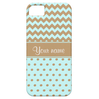 Chic Camel Chevrons Polka Dots Baby Blue iPhone 5 Covers