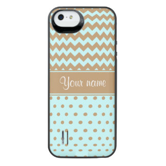 Chic Camel Chevrons Polka Dots Baby Blue iPhone SE/5/5s Battery Case