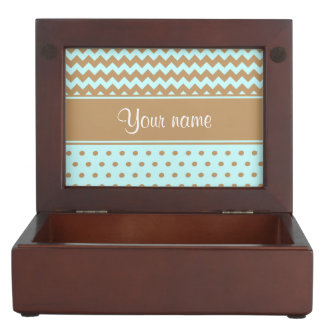 Chic Camel Chevrons Polka Dots Baby Blue Keepsake Box