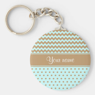Chic Camel Chevrons Polka Dots Baby Blue Key Ring