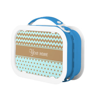 Chic Camel Chevrons Polka Dots Baby Blue Lunch Box