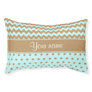 Chic Camel Chevrons Polka Dots Baby Blue Pet Bed