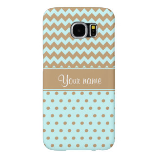 Chic Camel Chevrons Polka Dots Baby Blue Samsung Galaxy S6 Cases