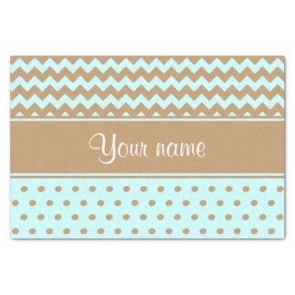 Chic Camel Chevrons Polka Dots Baby Blue Tissue Paper