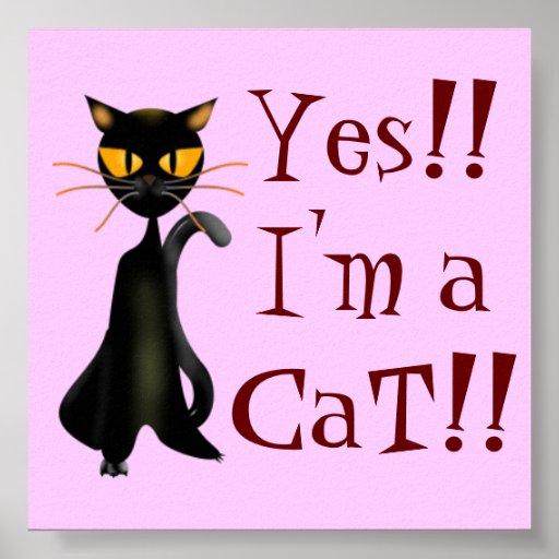 Chic Cat Cartoon Poster