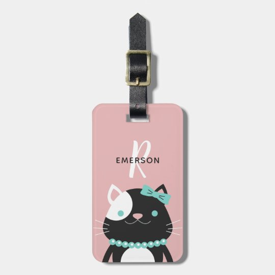 Chic Cat with Pearl Necklace | Monogram Luggage Tag