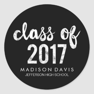 Chic Chalk | Class of 2017 Graduation Classic Round Sticker