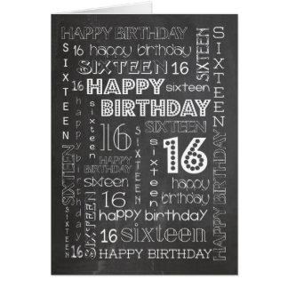 Chic Chalkboard Age-specific 16th Birthday Card