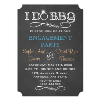 Chic Chalkboard I DO BBQ Engagement Party Invite