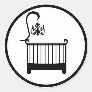 Chic Chandelier Crib Baby Shower Envelope Seal Round Sticker