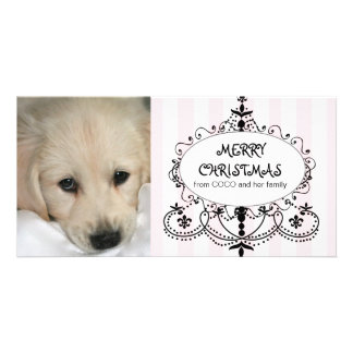 Chic Chandelier Dog Christmas Photo Card