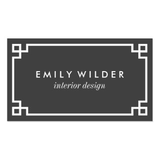 Chic Charcoal Gray and White Greek Key Pack Of Standard Business Cards