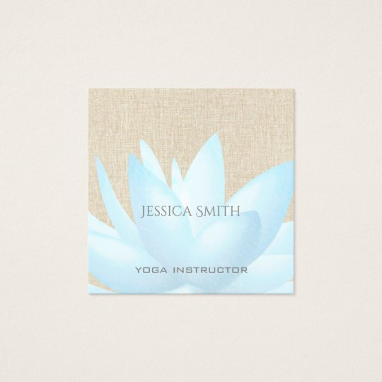 Chic charming elegant watercolor lotus flower square business card
