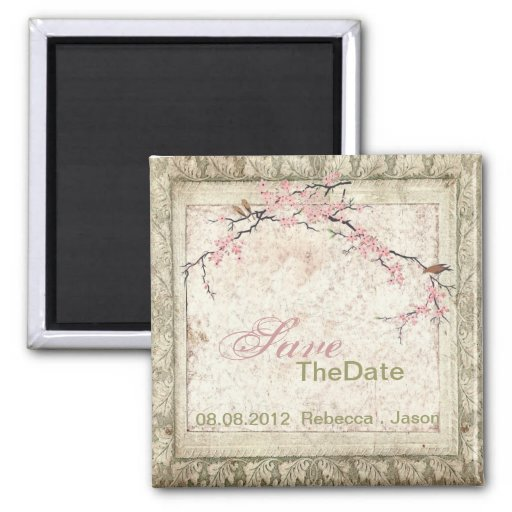 chic cherry Blossom Country wedding save the date Magnets