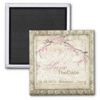chic cherry Blossom Country wedding save the date Square Magnet
